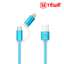 TEWE Fast Charging Data Cable Led 2A Flashing 2In1 Micro/ Iphone 5 1.5M