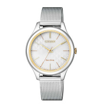 CITIZEN Eco Drive Watch - Silver Strap/White Gold Dial 32mm Ladies [EM0504-81A]