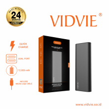 VIDVIE Powerbank PB716 12000 mAh / Battery Charger / Pengisi Daya - Dark Grey