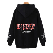 Ninataly New Autumn & Winter Loose Hooded Women hoodies Bf Wild Lace Velvet  Pocket Letter Printing hooded coat Black M