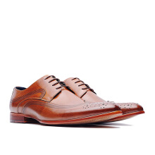 LIFE 8 Burnished Leather Derby Shoes - Brown