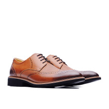 LIFE 8 Lightweight Wax Cow Leather Embossing Derby Shoes - Brown