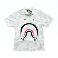 Bape Polo Shirt White Camo size L