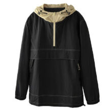 Ins V-446 Trendy brand new Korean version of the autumn and winter hooded jacket female Hip hop jacket-Black S