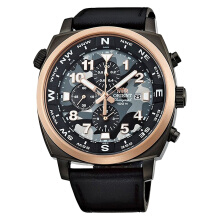 Orient Fighter Pilot Chronograph Analogue Army Dial Black Leather Strap [FTT17003B]