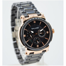 Balmer  Ceramic Sapphire Crystal Stainless Steel Chain Ladies B.7929LR-774D35HTRG Multi Fungsi Hitam Rosegold Black