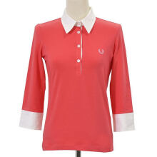 Fredperry Women Coral Pink 3/4 Sleeves Polo wt White Collar - XL Size