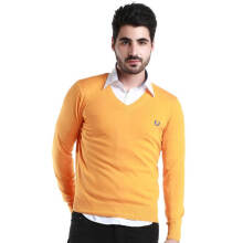 Fredperry Men- Orange V-Neck Sweatshirt wt Blue Laurel