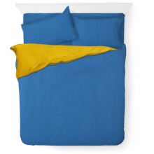 JOYSLEEP Bedcover Blue & Blue Sapphire + Yellow Mustard & Indian Saffron - 230 x 230
