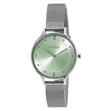 Skagen Anita Light Green Sunray Dial Stainless Steel Mesh Bracelet [SKW2324]