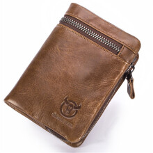Bullcaptain® Bifold Men's Leather Wallet Coin Holder Wallet Credit Card Holder