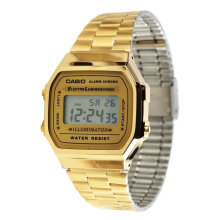Casio illuminator stainless steel chain unisex A168W-555D38GLD digital multi fungsi gold Gold