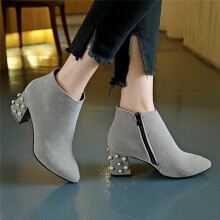 BESSKY Women's Spring Casual Shoes Pearl Decoration Square Heel Ankle Boots_