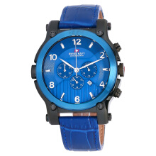 SWISS NAVY Man Chronograph Blue Pattern Dial Blue Leather Strap [8309ABBLBL]