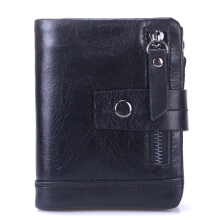 Bullcaptain® Men Tri-fold Wallet Vintage Coffee Black 13 Card Slots Wallet Youth Real Leather Coin Bag