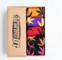 Cool My style CS-3 California skate city Maple leaf socks(about 19cm) five pairs in one set-five colors
