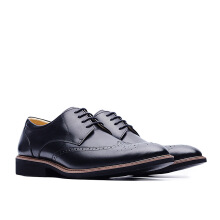 LIFE 8 Lightweight Wax Cow Leather Embossing Derby Shoes - Black