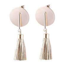 VOITTO Fashion Jewelry Round Shape Tassel B8 Earrings [Gold]