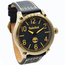 Timberland Leather Strap Mens 14852JSK-02-1606D47HTMGL Analog Hitam Gold Black