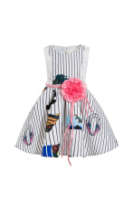 lememogo Baby Kid Girl Princess Party Clothes Print Sleeveless Tulle Tutu Dresses