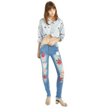Puss Up Jeans Wanita Palermo Bordir Destroy PU-165P90SZ27-30 Bahan Denim Stretch Dengan Bordir Color Soft Blue Combinasi 27-34