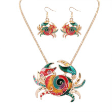 Rose Golden Tone Colorful Unique Paint Crab Holiday Set Necklace Stud Earring Set