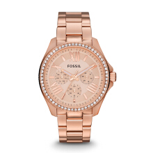 FOSSIL AM4483 D40H1676RG CHRONOGRAPH STAINLESS STEEL CHAIN LADIES ROSEGOLD Gold