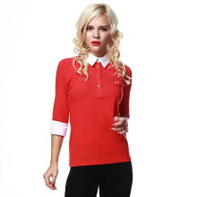 Fredperry Women -Red 3/4 Sleeves Polo wt White Collar