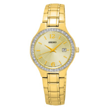 Seiko Ladies Gold Dial with Diamond Bezel Stainless Steel Bracelet [SUR782P1]