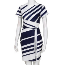 BESSKY Women's Working Dresses Pencil Stripe Party Dress Casual Mini Dresses _