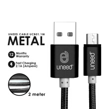 UNEED Nylon Cable Data Micro USB 2M Fast Charging 2.1A UCB01.1M - Black