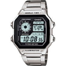 Casio illuminator world time stainless steel chain mens AE1200WH-415D44SLHT digital silver hitam Silver