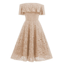 BESSKY Women Off Shoulder Lace Sexy Flare Cocktail Party A-Line Strap Ball Gown Dress_