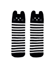 Hey Baby Black Cat Stripe Socks Black