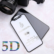 Sentum 5D Tempered Glass for iPhone X 5.8inch Full Cover Curved Edge Premium Screen Protector Black