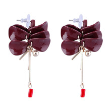 VOITTO Fashion Jewelry Vonly Flower Petal V2 Earrings [Red]