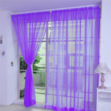 BESSKY 1 PCS Pure Color Tulle Door Window Curtain Drape Panel Sheer Scarf Valances_ Purple