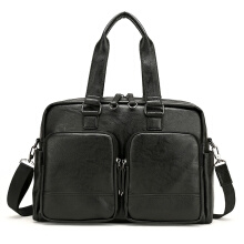Wei's Selections for Men Leather business bag Tote bag fdk60-Black