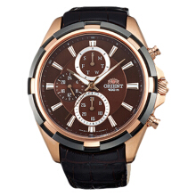 Orient Sporty Chronograph Men Brown Dial Dark Brown Leather Strap [FUY01004T] Black