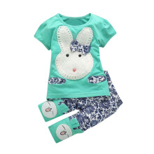 BESSKY Toddler Baby Girls Short Sleeve T-Shirt Tops +Pants Bunny Outfit Set Clothes_