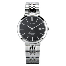 Alba Man Black Dial Sapphire Crystal Stainless Steel Watch [AS9D81X1] Silver