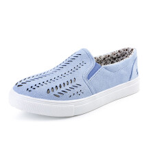 BESSKY Ladies Women Hollow Out Shoes Round Toe Platform Flat Heel Slip on Casual Shoes_