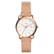 Fossil The Commuter Ladies White Dial Beige Leather Strap [ES4335] Coklat