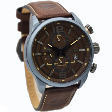 Timberland Leather Strap Mens 14816JLU-12-2058D45CKTAB Analog Chronograph Coklat Abu Brown