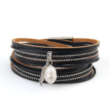 New Ornaments Fashion Summer Multilevel Pearls and Feather Bracelets