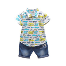 BESSKY Newborn Infant  Baby Boys Car Print T-shirt Tops Denim Pants Outfits Clothes Set_