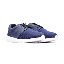 09492-Check Weave Trainer Sports Shoes In Blue