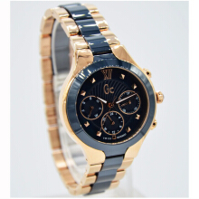 Guess Collection Y30003L7 D35H5474BRCRG Multiple Dial Stainless Steel Chain Jam tangan Wanita Rosegold Biru Combinasi Black