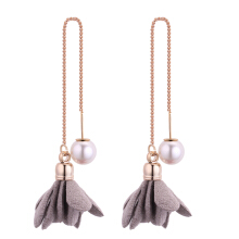 Fabric Flower Imitation Pearl Linear Threader Drop Earring