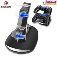 JOYSEUS Controller Charger Dock LED Dual USB PS4 Charging Stand Station Cradle for Sony Playstation 4 PS4 / PS4 Pro /PS4 Slim Black
